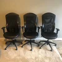 Three black leather rolling armchairs Purcellville, 20132