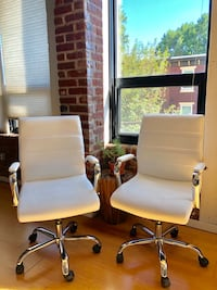 Set of Two White Leather Office Chairs  Philadelphia, 19125