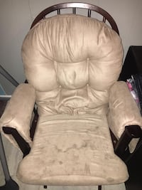 Brown wooden framed white tufted glider chair Newport News, 23602