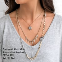 Starbust three-row convertible necklace