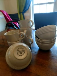 5 bowls, 5 mugs. White, oven and micro safe.  Winchester, 22601