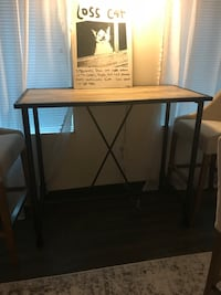 High top metal and wood table and three high top upholstered chairs. Can be sold together or separately  Washington, 20002