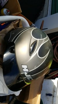 gray and black HJC full-face helmet
