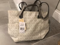 white and gray Michael Kors leather tote bag Newington, 06111