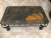 Slate Tile Top Iron Coffee Table and End Table 2368 mi