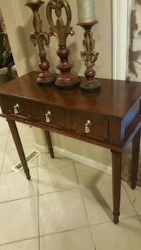 brown wooden 2-drawer end table Aurora