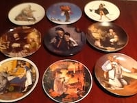 four assorted ceramic decorative plates