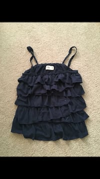 black and gray spaghetti strap dress