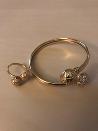 Gold plated bracelet and ring stainless for women