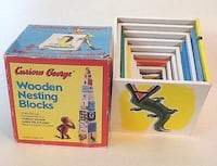 CURIOUS GEORGE Wooden Nesting Blocks Alphabet Numbers Mississauga, L5K 1H5