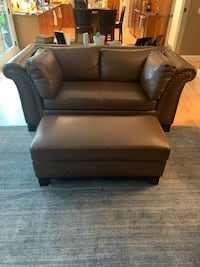 2 identical leather couches & chest style ottoman