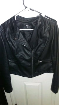 black leather zip-up jacket Fountain