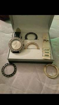 round silver analog watch with silver link bracelet Indianapolis, 46225