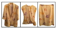 Vintage 80's 3pc Yellow Floral 3pc Skirt Set BURNABY
