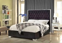 Black velvet bed with chrome top and sides and upholstered face Toronto, M6N 3G1