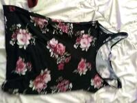 black and pink floral scoop neck sleeveless dress Calgary, T2A 5X6