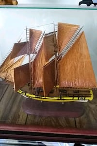 "HANDMADE SHIP AND GLASS CASE-18 1/2"" X 23 1/2"" X4"" Hyattsville, 20783"