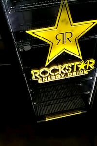 black and yellow Rockstar Energy Drink cooler