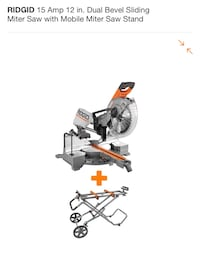 Ridgid 15 amp 12 inch dual bevel sliding miter saw with stand and blades - New never used Portland, 97219