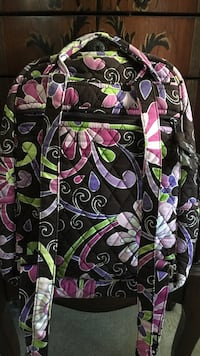 black and pink floral Vera Bradley backpack