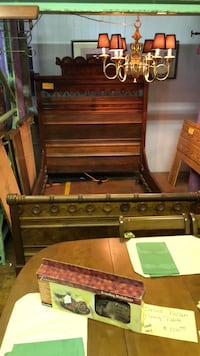 1880    Hand Carved Full Black Walnut Burlwood Bed