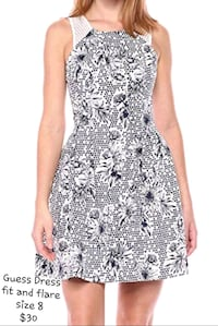 Navy blue mesh fit and flare dress from GUESS  Reston, 20190