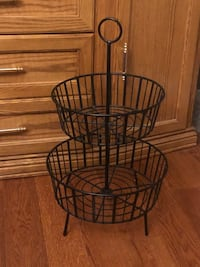 WROUGHT IRON TWO TIERED FRUIT BASKET North Dumfries, N0B