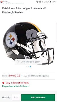 OFFICIAL AUTHENTIC STEELERS FULL SIZE HELMET  Sherwood Park, T8A 4W5