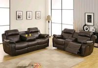 Marille Brown Bonded Leather Reclining Living Room Set | 9724   Jessup, 20794