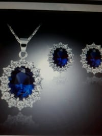 Blue and wite sapphire white gold filled sterling