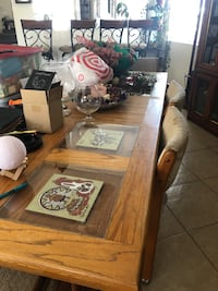 Large kitchen table about 7 feet by 4. With 6 chairs