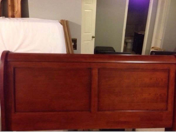 Queen cherry wood bed frame