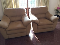 Light brown suede branded sofa set (3 seater + 2 single seater sofas)