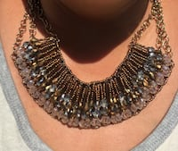 silver and black beaded necklace 2316 mi