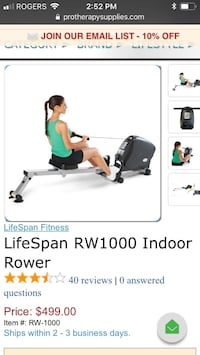 Lifespan rw1000 indoor rower  Maple Ridge, V2X 9V3