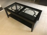 Black Coffee Table with Glass and Cast Iron 32 km