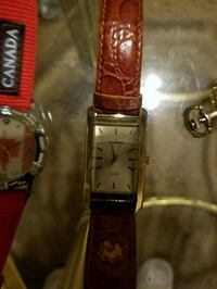 rectangular silver analog watch with brown leather strap Caldwell, 83607