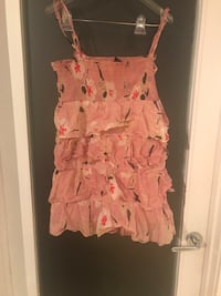 pink, white, and red floral spaghetti strap mini dress