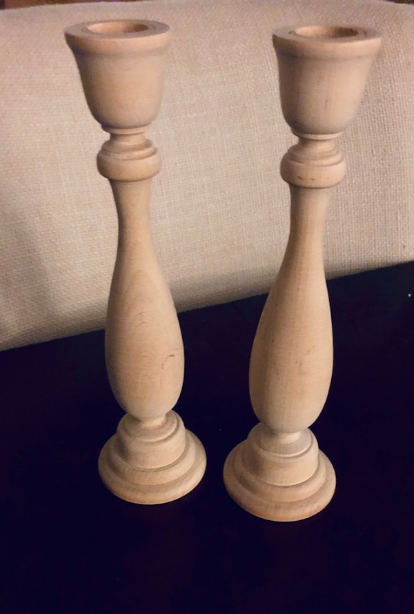 2 Wooden Candle Stick Holders From Michaels Nwt
