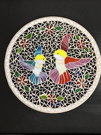 "Glass mosaic tray 14"" diameter. Handmade  Deer Lake, 17961"