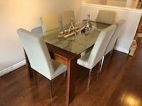 Dining table and chairs (solid wood, glass and chrome)