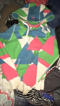 Blue, yellow, green, and pink zip-up hoodie Kingston, K7L 5H6