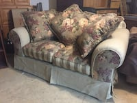 beige, brown, and red floral loveseat micro-suede armchair with throw pillows set
