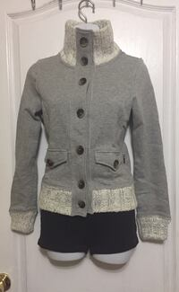TRIPLE FIVE SOUL Grey Button Up Sweater: Size Small
