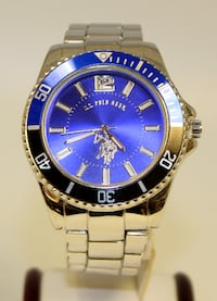 US Polo Assn Men's Usc80436 Silver Tone Blue Dial Mesh Band Analog Watch Royal Palm Beach