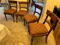 Four mahogany padded dining room chairs Parkville, 21234