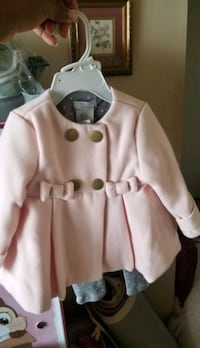 Baby pink peacoat and ruffled bottom pants