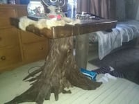 brown wooden pedestal table with glass top Rawdon, J0K 1S0