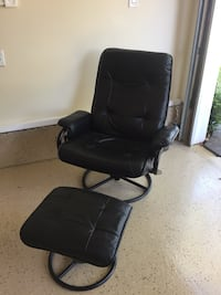 Black leather padded recliner with ottoman  San Bruno, 94066