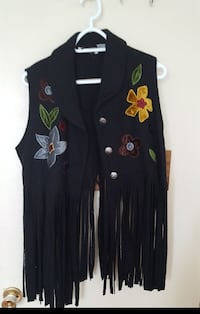 women's black, yellow, and green floral fringed bu